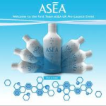 Graphic of ASEA bottles displayed in an arc with molecules depicted at the bottom.