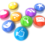 an array of colorful social media icon buttons