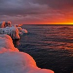 Fire and Ice Sunset on Frozen Shores