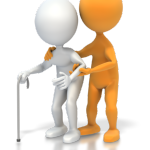 person helping another person with cane