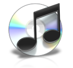 Musical notes in front of CD
