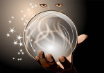 clairvoyant. abstract woman with magic ball on dark background