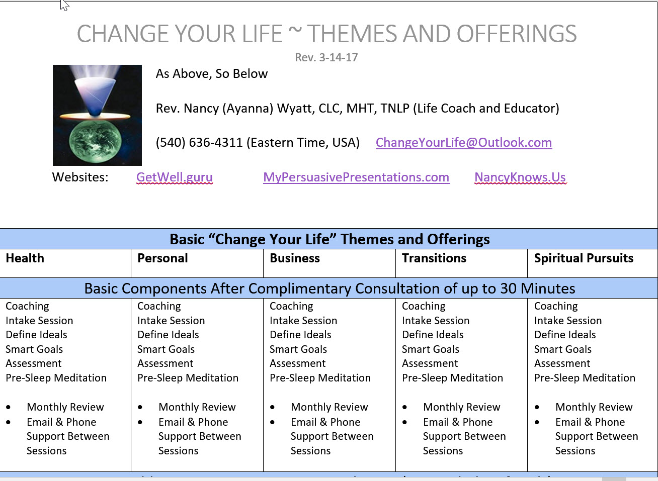 Life Coach ~ Themes and Offerings