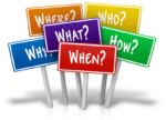 signs with questions who, what, why, when, where, how for social media blog suggestions