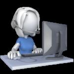 Customer Service rep at computer