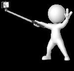 figure taking a selfie with selfie stick