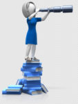 figure of a woman standing on books about allergies and looking through a spyglass at something far away