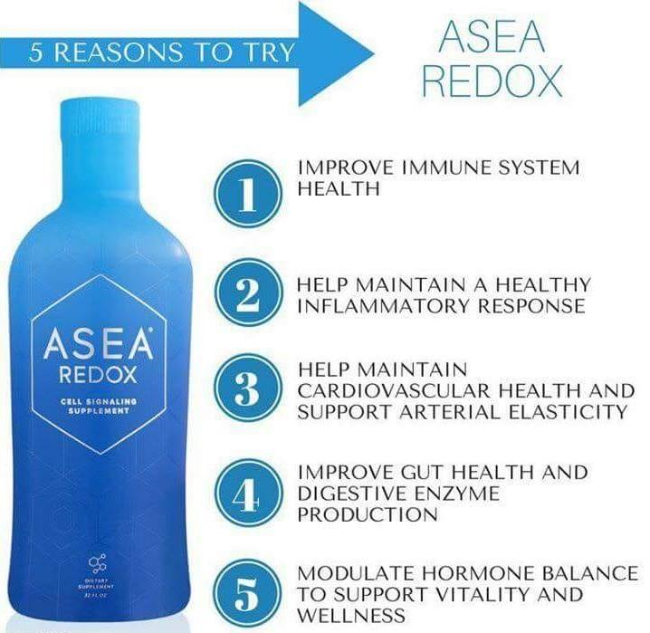 Blue bottle of ASEA with notes about what body systems it helps
