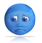 blue head showing sad emotion
