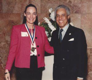 Nancy Wyatt receiving Governor's Gold Medal Award from Governor Wilder in Virginia